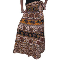 Mogulinterior Magic Long Wrap Around Skirt Cotton Brown Hippy India Designer Womens Beach Wrap Dress