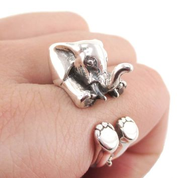 3D Realistic Baby Elephant Animal Wrap Around Ring in 925 Sterling Silver