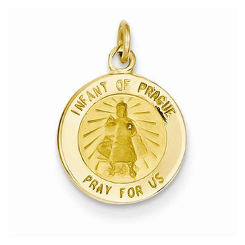 14k Yellow Gold Infant of Prague Medal Pendant