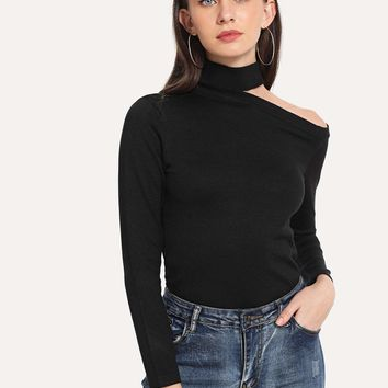 Cut Out High Neck Solid Jumper