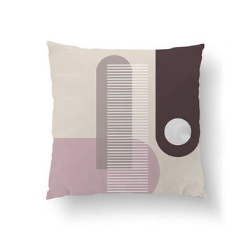 Watercolor Decor, Abstract Shapes, Decorative Pillow, Simple Design, Throw Pillow, Minimalist Pillow, Pink Brown, Home Decor, Cushion Cover