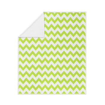 Chrome Green Chevron Pattern Fleece Blanket