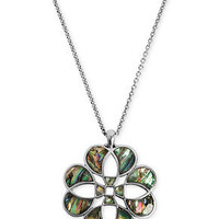Lucky Brand Necklace, Silver-Tone Abalone Floral Pendant Necklace - Fashion Necklaces - Jewelry & Watches - Macy's