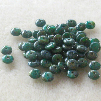 Czech Pressed Glass Rondelle Beads Glass Beads ' Persian Turquoise Blue Picasso' Craft Supplies Necklace Design Jewelry Making 6mm (25)