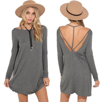 Gray Long Sleeve Backless Strap Shift Mini Dress
