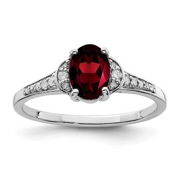 Sterling Silver Diamond & Genuine Oval Garnet Ring