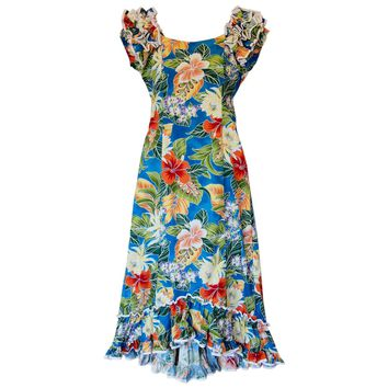 Excite Blue Hawaiian Meaaloha Muumuu Dress with Sleeves