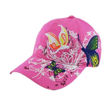 2016New Brand Design Embroidered Butterfly Flowers Baseball Caps Women Girl Shopping Cycling Duck Tongue Hat Anti Sai Cap #OR