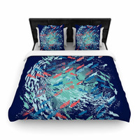 "Frederic Levy-Hadida ""Underwater Life - Blue"" Blue Fish Woven Duvet Cover"