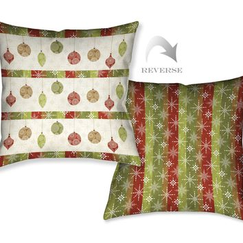 Holiday Ornaments II Indoor Decorative Pillow
