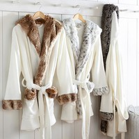 Faux Fur Collar Robe