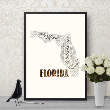 Florida Printable, Word Cloud, Map Printable, Map of Florida, Printable Art