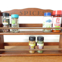 Large two tier or double shelf wood spice rack, hang from wall or sit on countertop