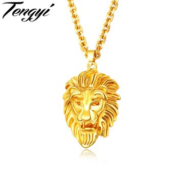 Tengyi Punk Cool Lion Head Pandant Necklaces For Men Stainless Steel Gold Color Animal Style Necklace 610MM Chain Jewelry TY691
