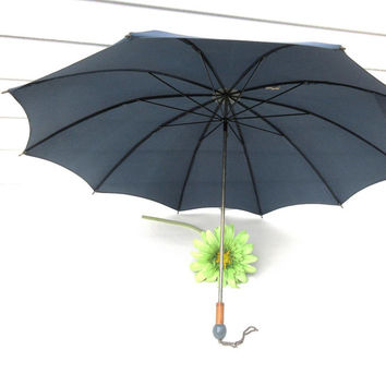 1960s Umbrella, Sun Parasol, Navy Blue Umbrella, London Fog