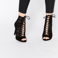 New Look Laser Cut Lace Up Heeled Shoes