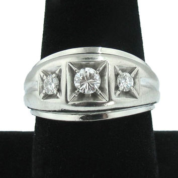 Vintage Mens Diamond Ring in 14K White Gold