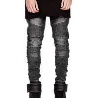 Men's Skinny Biker Hi-Street Ripped Rider Denim Motorcycle Runway Slim Fit Washed Jeans