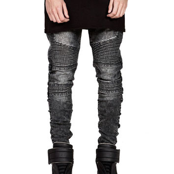 Mens Skinny Biker Jeans Men 2016 Hi-Street Ripped Rider Denim Jeans Motorcycle Runway Slim Fit Washed Moto Denim Pants Joggers