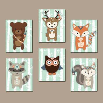 Tribal WOODLAND Nursery Decor, Tribal Animals Wall Art, Woodland Decor, Wood Forest Animals, Canvas or Prints Set of 6 Woodland Wall Decor