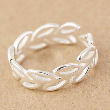 vintage 925 silver hollow out leaf ring men womens adjustable ring gift 37