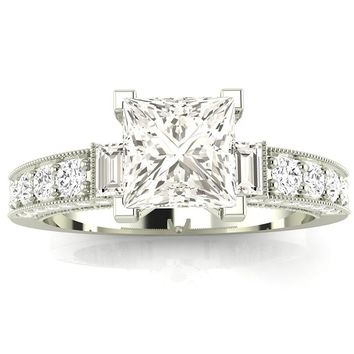 CERTIFIED | 14K White Gold 1.58 CTW Princess Cut Gorgeous Prong Set Round And Half Bezel Baguette Diamond Engagement Ring, J Color VS1-VS2 Clarity Center Stone (Platinum, Yellow, White, Rose)