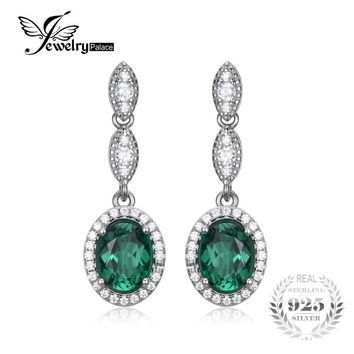 JewelryPalace Oval 2.87ct Created Emerald Drop Earrings 925 Sterling Silver Brand Fine Jewelry Vintage Trendy Earrings For Women