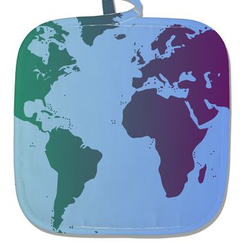 Cool World Map Design White Fabric Pot Holder Hot Pad All Over Print