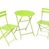 Cosco 3-Piece Folding Bistro-Style Patio Table and Chair, Bright Green