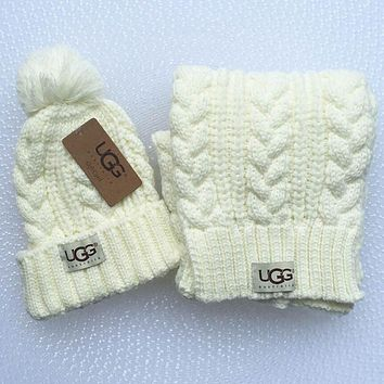 """UGG"" Winter Women Cute Tab Hairball Warm Hat Knitting Cap lovers muffler cap two piece"