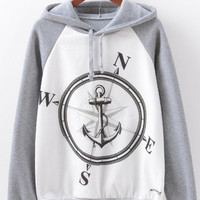 Stylish Women Compass Printed Long Sleeve Cotton Hooded Sweatshirt - NewChic Mobile.