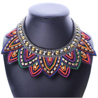 Lotus Flower Statement Choker Collar - Multicolor Resin Beads - Colorful, Fun