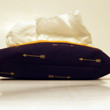 Blue and Gold Tissue Holder, Travel Tissue Cozy, Pocket tissue holder, Card holder, Kleenex holder