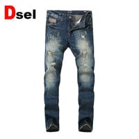 DSEL brand  jeans male straight fashion cotton men jeans solid color wild men of good quality jeans casual pants free shipping