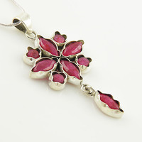 Ruby Floral Sterling Silver Pendant - keja jewelry