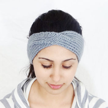 SALE Gray Headband Accessory Gray Head Band Earwarmer Gray knitted Headband Gray Ear Warmer Gray Earwarmer Gray Hair Accessory Womens Headba
