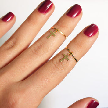 2 Gold Above the Knuckle Rings with a tiny cross - thin gold knuckle rings with cross stack midi rings