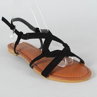 Bamboo Maniac-99 Suede Open Toe Flat Sandal