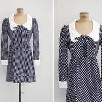 1960s Mini Dress - Vintage 60s Early 70s Polka Dot Dress - 96 Tears Dress