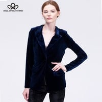 Bella Philosophy 2017 Velvet Blazer Jacket Women Fashion Autumn Warm Ladies Blazer Coat One Button Turn-down Collar Outwears