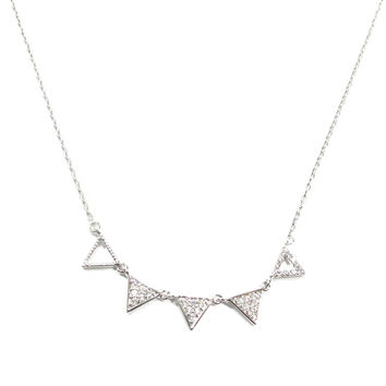 Tidy Triangle Necklace (Silver)