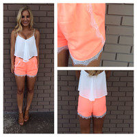 Neon Coral Lace Trim Tulip Shorts