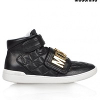 MOSCHINOQUILTED HIGH TOP TRAINERS - BLACK