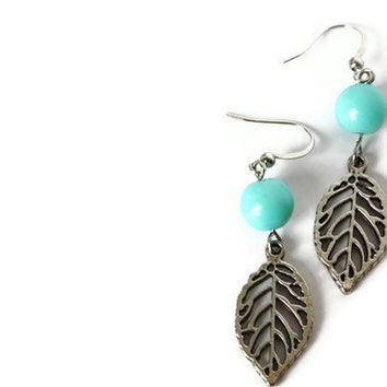 Turquoise Earrings. Turquoise Beaded Charm Earrings on Nickel Free Hooks. Simple Earrings.