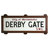 Vintage London Street Sign City of Westminster-Derby Gate S.W.1