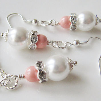 Bridesmaid Set - White and pink coral necklace and earrings - white wedding - coral wedding - peach earrings - silver - bridal earrings