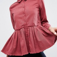 ASOS Denim Pleated Shirt in Washed Raspberry Red at asos.com