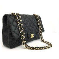 CHANEL Jumbo Quilted Matelasse Lambskin w/Chain Shoulder Bag Black /mFA x