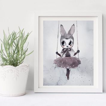 Poster And Prints Nordic Decoration Nursery Wall Art Canvas Painting Beautiful Rabbit Art Print Wall Pictures Picture Unframed