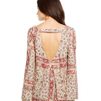 OPEN BACK BELL SLEEVE-TAPESTRY-XS